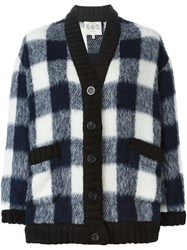 Sea Checked Cardigan Blue