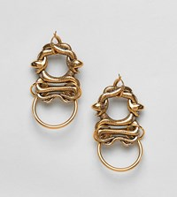 Regal Rose 18K Gold Plated Twisted Snake Statement Earrings