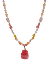 Anne Klein Crystal Studded And Beaded Pendant Necklace Pink