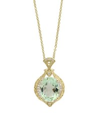Effy Final Call Diamond Green Amethyst And 14K Yellow Gold Pendant Necklace