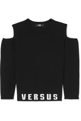 Versus By Versace Cold Shoulder Printed Stretch Jersey Top Black