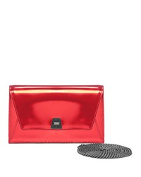 Akris Anouk City Small Leather Envelope Clutch Bag Scarlet Metallic