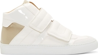 Maison Martin Margiela White And Beige Lacquered Velcro Sneakers