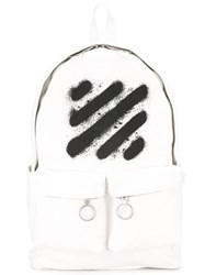 Off White Spray Stripes Printed Backpack White