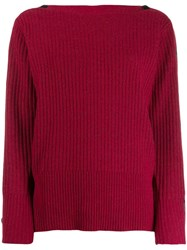 Calvin Klein Ribbed Knit Jumper Red