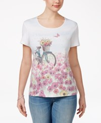 Karen Scott Petite Bicycle Graphic T Shirt Only At Macy's Buttercup Yellow