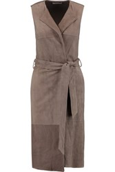 Bailey 44 Leather And Jersey Gilet Taupe