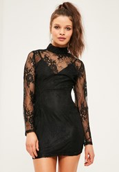 Missguided Petite Exclusive Black Lace High Neck Dress