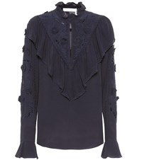 See By Chloe Broderie Anglaise Blouse Blue