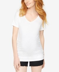 A Pea In The Pod Maternity V Neck Tee White