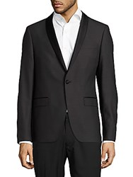 Sand Shawl Collar Wool Blend Jacket Black