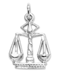 Macy's 14K White Gold Charm Small Scales Of Justice Charm