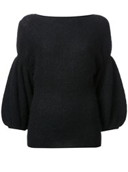 Theatre Products Puff Sleeve Knit Blouse Black