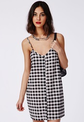 Missguided Button Through Cami Swing Dress Black Gingham