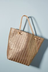 Monserat De Lucca Mafalda Metallic Straw Tote Brown