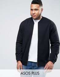 Asos Plus Muscle Fit Jersey Ma1 Bomber Jacket In Black Black