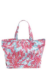 Lilly Pulitzer Print Canvas Beach Tote Blue Breakwater Underwater Escape
