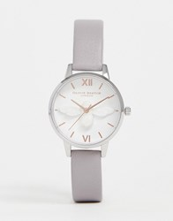 Olivia Burton Ob16am163 3D Bee Leather Watch In Grey Lilac