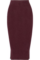 By Malene Birger Limon Metallic Ribbed Knit Skirt Merlot