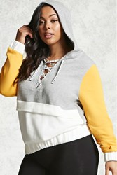Forever 21 Plus Size Unedited Hoodie Grey Mustard