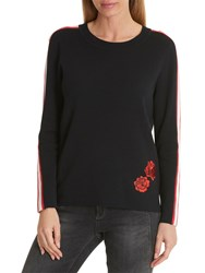 Betty Barclay Embroidered Jumper Black Red