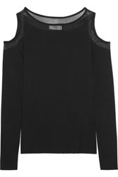 Bailey 44 Broadcast Cutout Mesh Trimmed Stretch Jersey Top Black