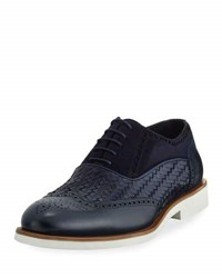Jared Lang Mixed Leather Casual Oxford With Lightweight Rubber Sole Blue