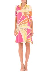 Women's Olian 'Trisha' Matnernity Wrap Dress Yellow Print