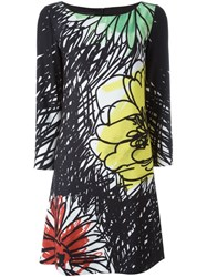 Boutique Moschino Floral Print Shift Dress Black