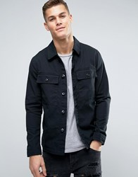 Jack And Jones Vintage Overshirt Jacket With Military Pockets Black