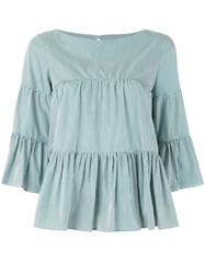 P.A.R.O.S.H. Tiered Blouse Women Cotton Xs Green