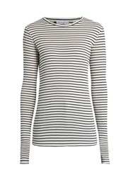Raey Long Sleeved Striped Ribbed T Shirt Black Stripe
