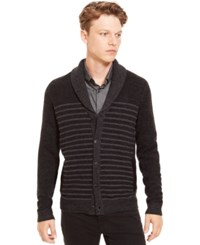 Kenneth Cole Reaction Shawl Collar Striped Cardigan Black