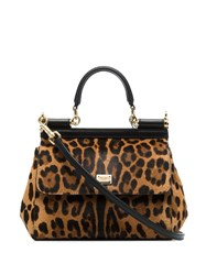 Dolce And Gabbana Small Sicily Leopard Print Tote Brown