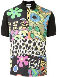 Moschino Block Patterned Polo Shirt Black