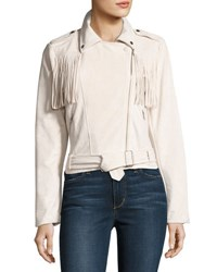 Moon River Faux Suede Fringed Biker Jacket Ivory