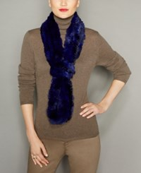 The Fur Vault Knitted Chinchilla Scarf Blue