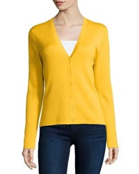Michael Kors Button Front Cashmere Cardigan Daffodil