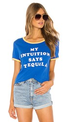 Wildfox Couture Tequila Intuition Double Ringer Tee In Blue. Slate Bubble Gum And Canary