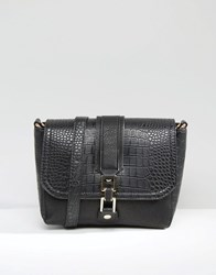 Liquorish Shoulder Bag With Mock Croc Panel Black