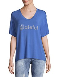 Peace Love World Mia V Neck French Graphic Top French Blue