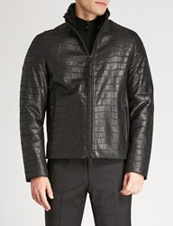 Emporio Armani Croc Effect Shearling And Leather Jacket Black