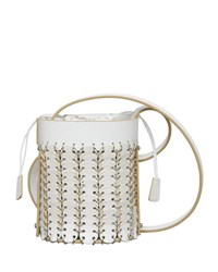 Paco Rabanne Grometted Leather Bucket Mini Bag White