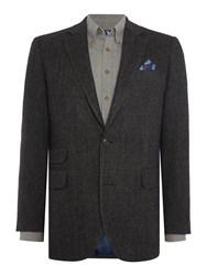 Chester Barrie Milled Birdseye Soho Jacket Charcoal