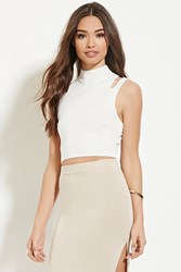 Forever 21 Cutout Shoulder Sweater Top White