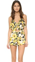 J.O.A. Floral Romper Yellow Multi