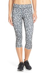 Women's Under Armour Heatgear Print Capris Elemental Black Berlin Blur