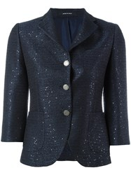 Tagliatore Glitter Effect Blazer Women Cotton Polyester Acetate Viscose 42 Blue