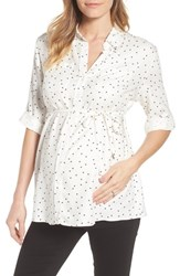 Isabella Oliver Selina Maternity Shirt Off White Star Print