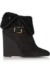 Burberry Shearling Lined Textured Leather Wedge Ankle Boots